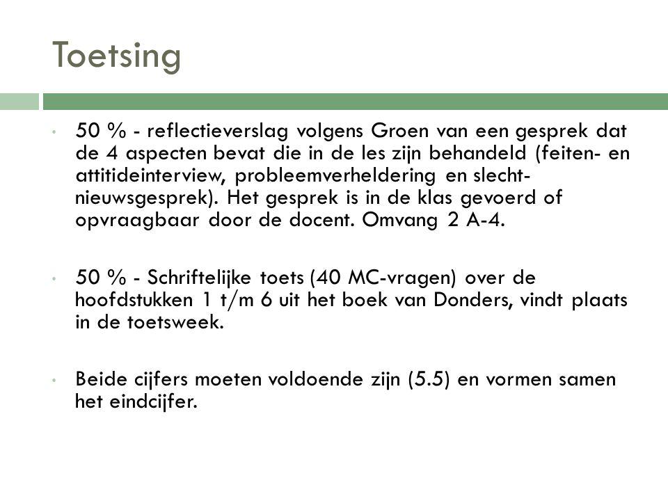 Toetsing 50 % - reflectieverslag volgens Groen van een gesprek dat de 4 aspecten bevat die in de les zijn behandeld (feiten- en attitideinterview, pro