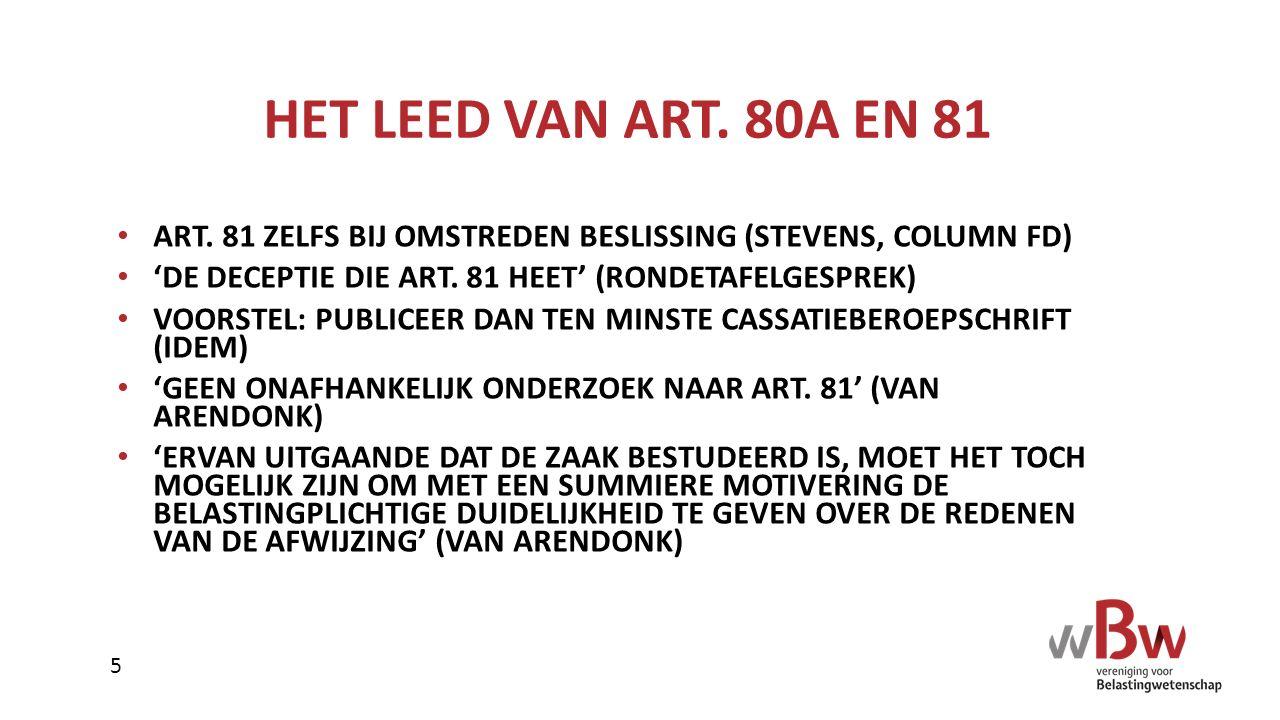 HET LEED VAN ART. 80A EN 81 ART. 81 ZELFS BIJ OMSTREDEN BESLISSING (STEVENS, COLUMN FD) 'DE DECEPTIE DIE ART. 81 HEET' (RONDETAFELGESPREK) VOORSTEL: P