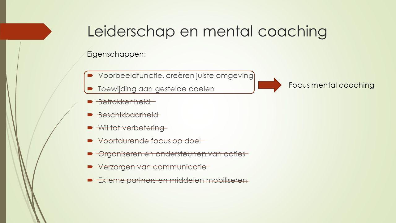 Leiderschap en mental coaching  Voorbeeldfunctie, creëren juiste omgeving  Toewijding aan gestelde doelen  Betrokkenheid  Beschikbaarheid  Wil to