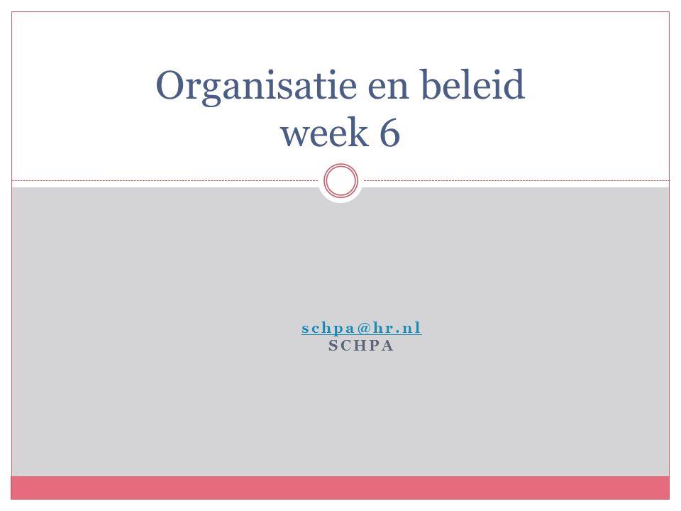 schpa@hr.nl SCHPA Organisatie en beleid week 6