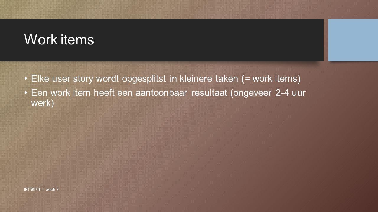 Work items Elke user story wordt opgesplitst in kleinere taken (= work items) Een work item heeft een aantoonbaar resultaat (ongeveer 2-4 uur werk) IN