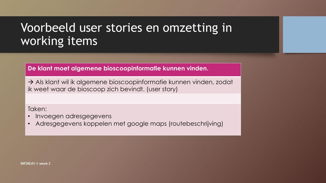 Voorbeeld user stories en omzetting in working items INFSKL01-1 week 2