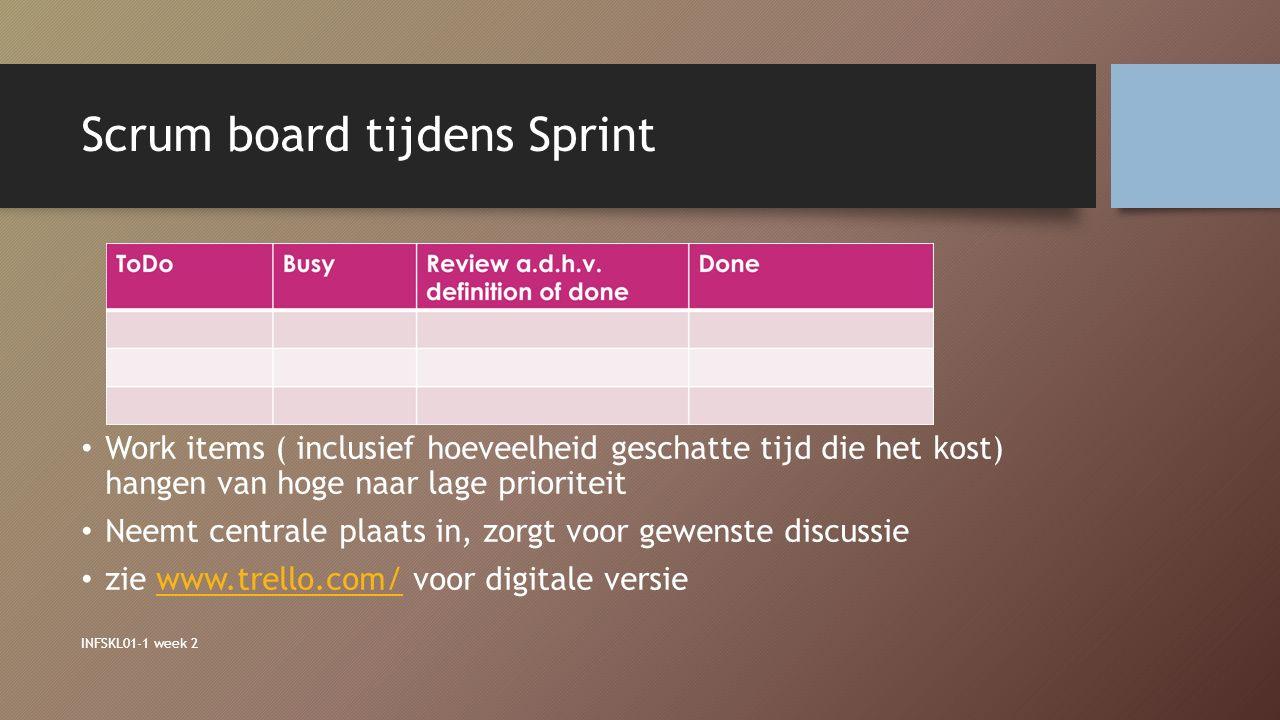 Scrum board tijdens Sprint Work items ( inclusief hoeveelheid geschatte tijd die het kost) hangen van hoge naar lage prioriteit Neemt centrale plaats
