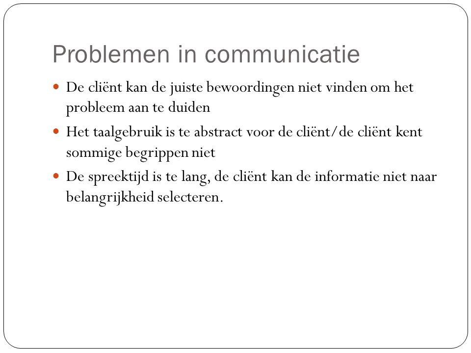 Problemen in communicatie De cliënt kan de juiste bewoordingen niet vinden om het probleem aan te duiden Het taalgebruik is te abstract voor de cliënt