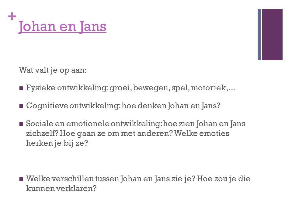 + Johan en Jans Wat valt je op aan: Fysieke ontwikkeling: groei, bewegen, spel, motoriek,... Cognitieve ontwikkeling: hoe denken Johan en Jans? Social