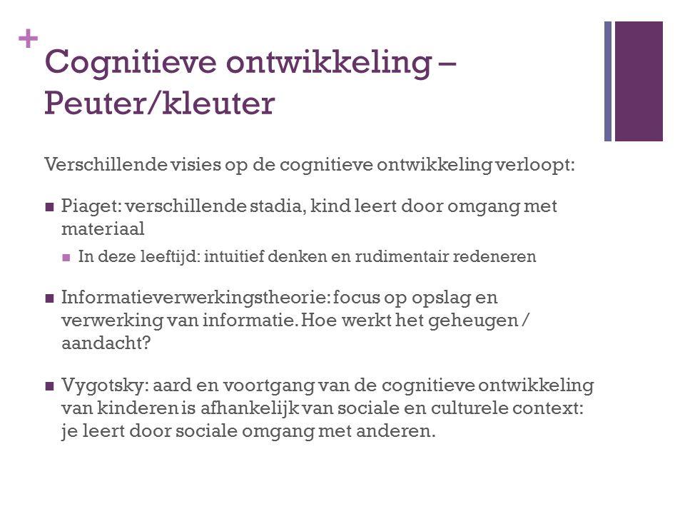 + Cognitieve ontwikkeling – Peuter/kleuter Verschillende visies op de cognitieve ontwikkeling verloopt: Piaget: verschillende stadia, kind leert door