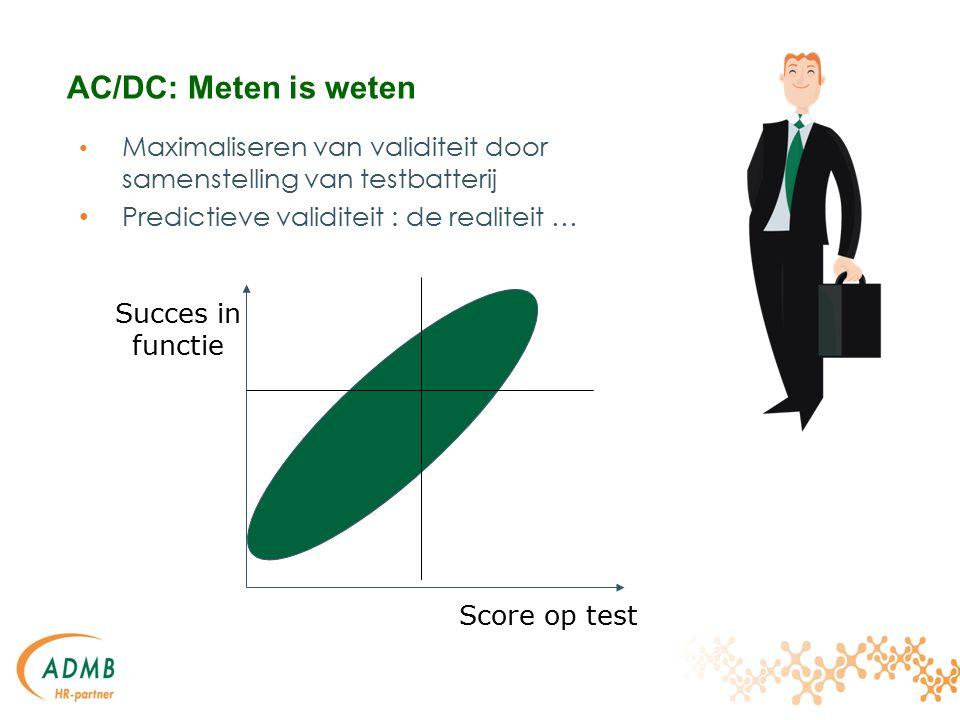 Maximaliseren van validiteit door samenstelling van testbatterij Predictieve validiteit : de realiteit … Score op test Succes in functie AC/DC: Meten