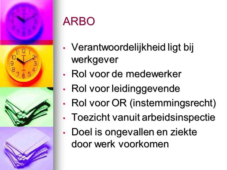 ARBO Onderdelen zijn gezondheid en veiligheid.Onderdelen zijn gezondheid en veiligheid.