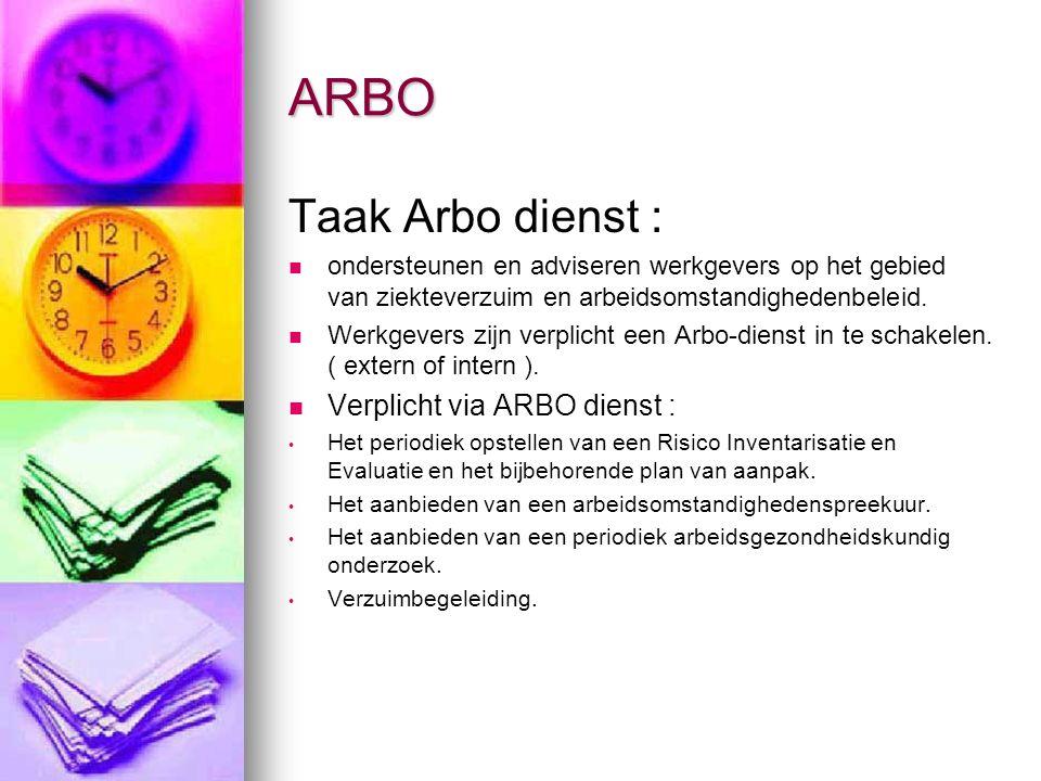ARBO Mag intern worden geregeld Mag intern worden geregeld Wel gecertificeerde bedrijfsarts (Wet Portwachter ) Wel gecertificeerde bedrijfsarts (Wet Portwachter ) RI& E : gericht op welzijn, gezondheid en veiligheid RI& E : gericht op welzijn, gezondheid en veiligheid