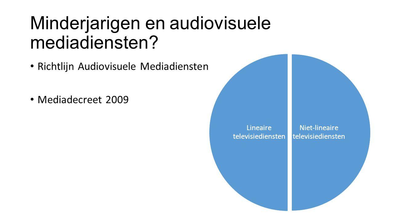 Minderjarigen en audiovisuele mediadiensten? Richtlijn Audiovisuele Mediadiensten Mediadecreet 2009 Niet-lineaire televisiediensten Lineaire televisie
