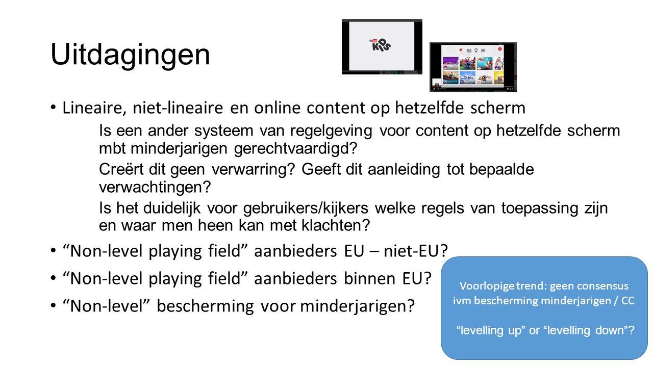 Uitdagingen Lineaire, niet-lineaire en online content op hetzelfde scherm Is een ander systeem van regelgeving voor content op hetzelfde scherm mbt minderjarigen gerechtvaardigd.