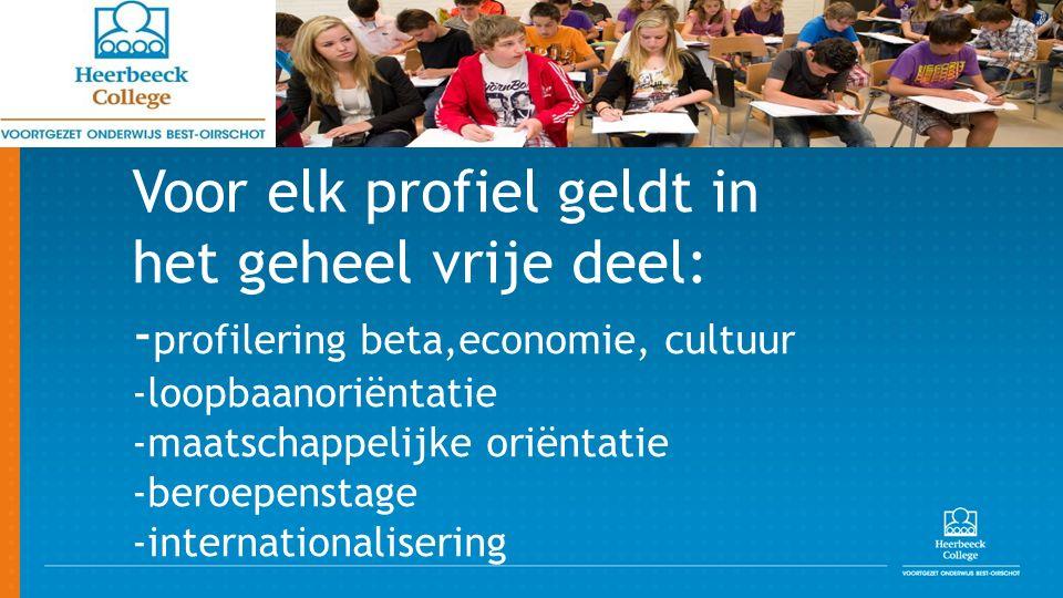Voor elk profiel geldt in het geheel vrije deel: - profilering beta,economie, cultuur -loopbaanoriëntatie -maatschappelijke oriëntatie -beroepenstage -internationalisering
