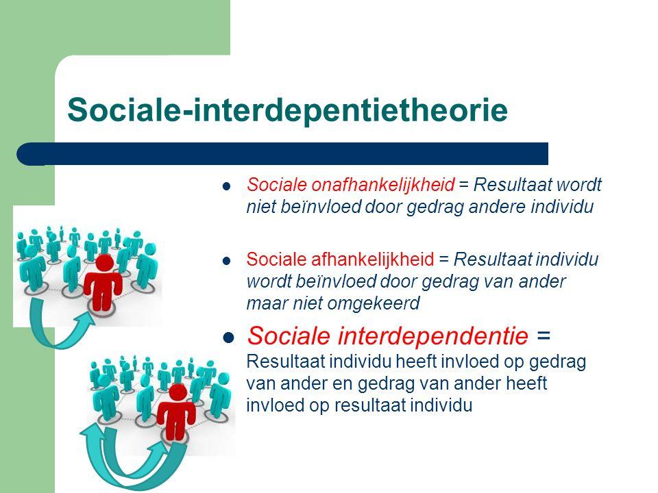 Sociale-interdepentietheorie Sociale onafhankelijkheid = Resultaat wordt niet beïnvloed door gedrag andere individu Sociale afhankelijkheid = Resultaa