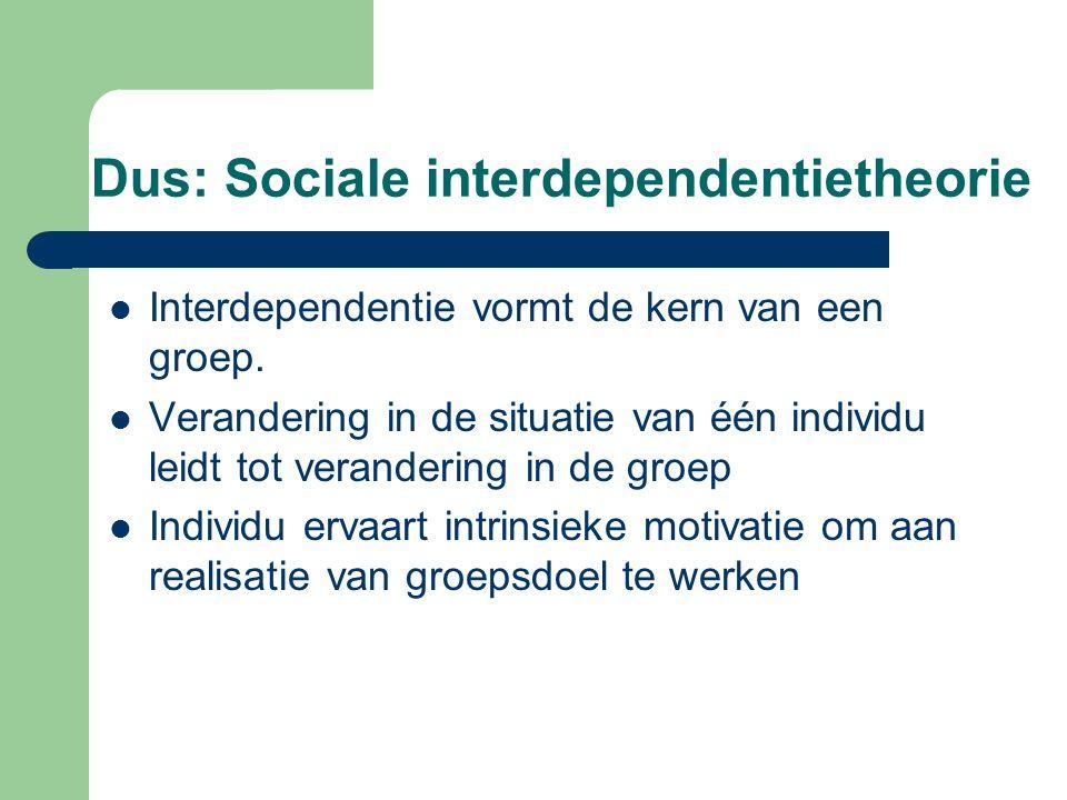 Dus: Sociale interdependentietheorie Interdependentie vormt de kern van een groep. Verandering in de situatie van één individu leidt tot verandering i