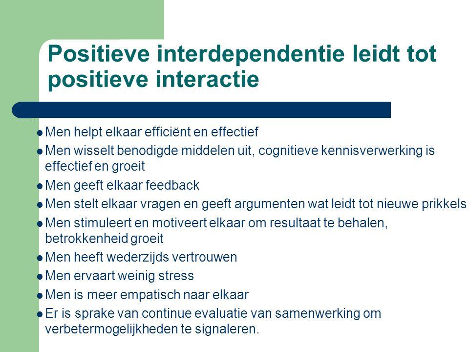 Positieve interdependentie leidt tot positieve interactie Men helpt elkaar efficiënt en effectief Men wisselt benodigde middelen uit, cognitieve kenni