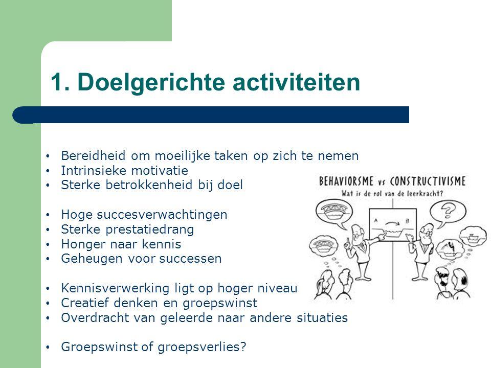 1. Doelgerichte activiteiten Bereidheid om moeilijke taken op zich te nemen Intrinsieke motivatie Sterke betrokkenheid bij doel Hoge succesverwachting