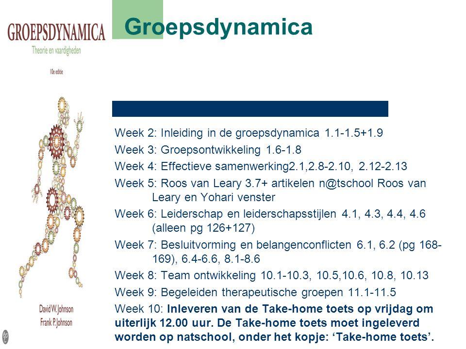 Week 2: Inleiding in de groepsdynamica 1.1-1.5+1.9 Week 3: Groepsontwikkeling 1.6-1.8 Week 4: Effectieve samenwerking2.1,2.8-2.10, 2.12-2.13 Week 5: R