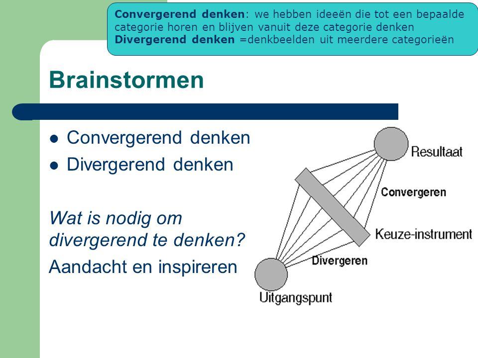 Brainstormen Convergerend denken Divergerend denken Wat is nodig om divergerend te denken? Aandacht en inspireren Convergerend denken: we hebben ideeë