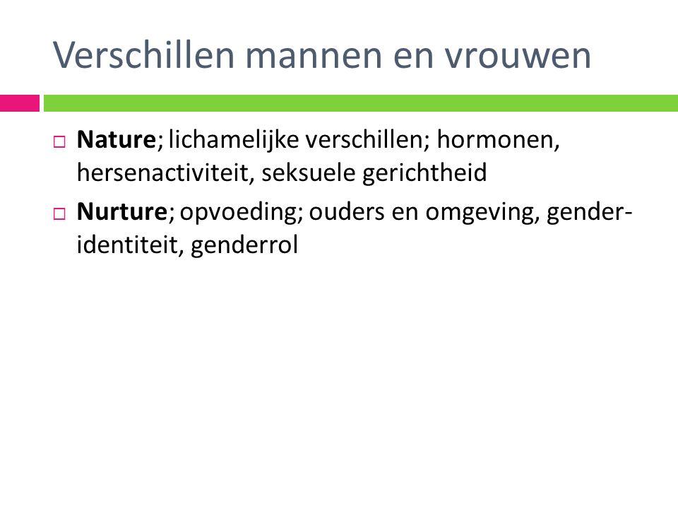 Verschillen mannen en vrouwen  Nature; lichamelijke verschillen; hormonen, hersenactiviteit, seksuele gerichtheid  Nurture; opvoeding; ouders en omgeving, gender- identiteit, genderrol