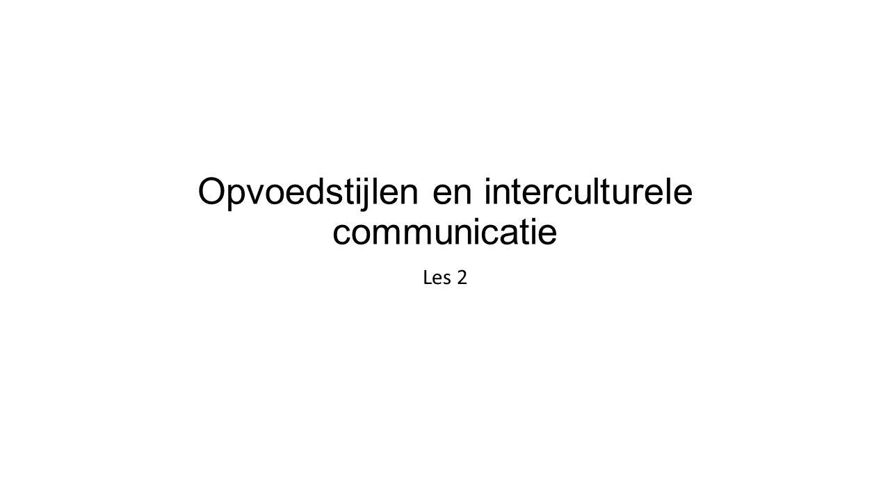 Opvoedstijlen en interculturele communicatie Les 2