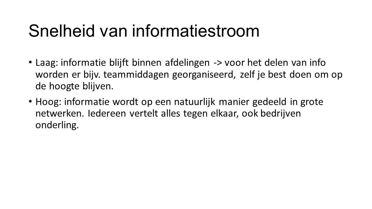 Snelheid van informatiestroom Laag: informatie blijft binnen afdelingen -> voor het delen van info worden er bijv. teammiddagen georganiseerd, zelf je