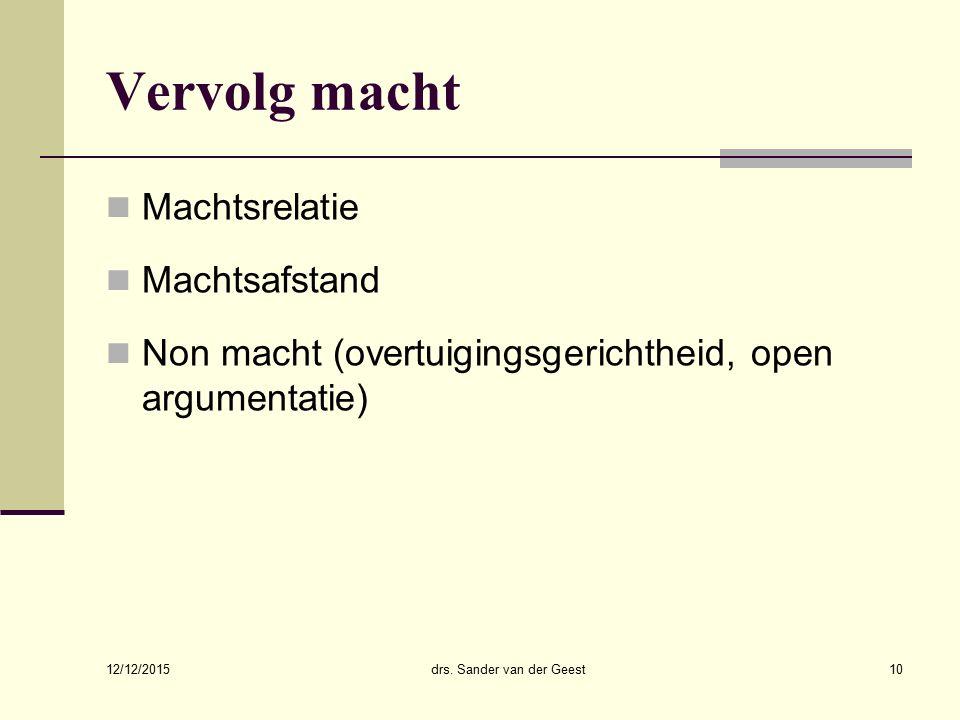 12/12/2015 drs. Sander van der Geest11 Stijlen in conflicthantering