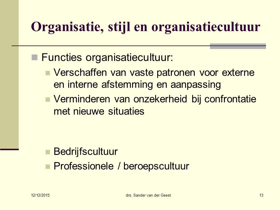 12/12/2015 drs. Sander van der Geest13 Organisatie, stijl en organisatiecultuur Functies organisatiecultuur: Verschaffen van vaste patronen voor exter