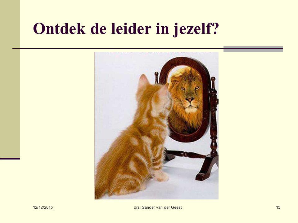 12/12/2015 drs. Sander van der Geest16 Werksatisfactie (een terugblik)
