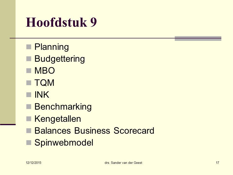12/12/2015 drs. Sander van der Geest17 Hoofdstuk 9 Planning Budgettering MBO TQM INK Benchmarking Kengetallen Balances Business Scorecard Spinwebmodel