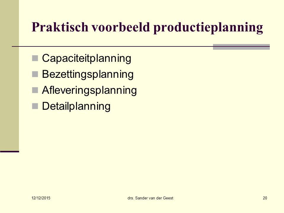 12/12/2015 drs. Sander van der Geest20 Praktisch voorbeeld productieplanning Capaciteitplanning Bezettingsplanning Afleveringsplanning Detailplanning
