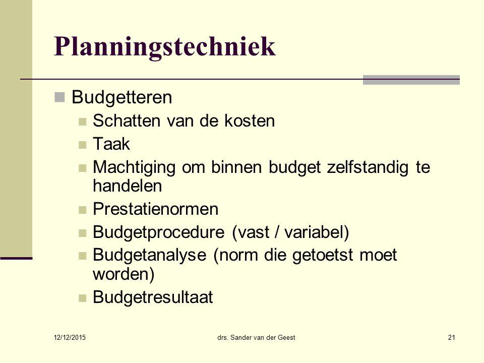 12/12/2015 drs. Sander van der Geest21 Planningstechniek Budgetteren Schatten van de kosten Taak Machtiging om binnen budget zelfstandig te handelen P