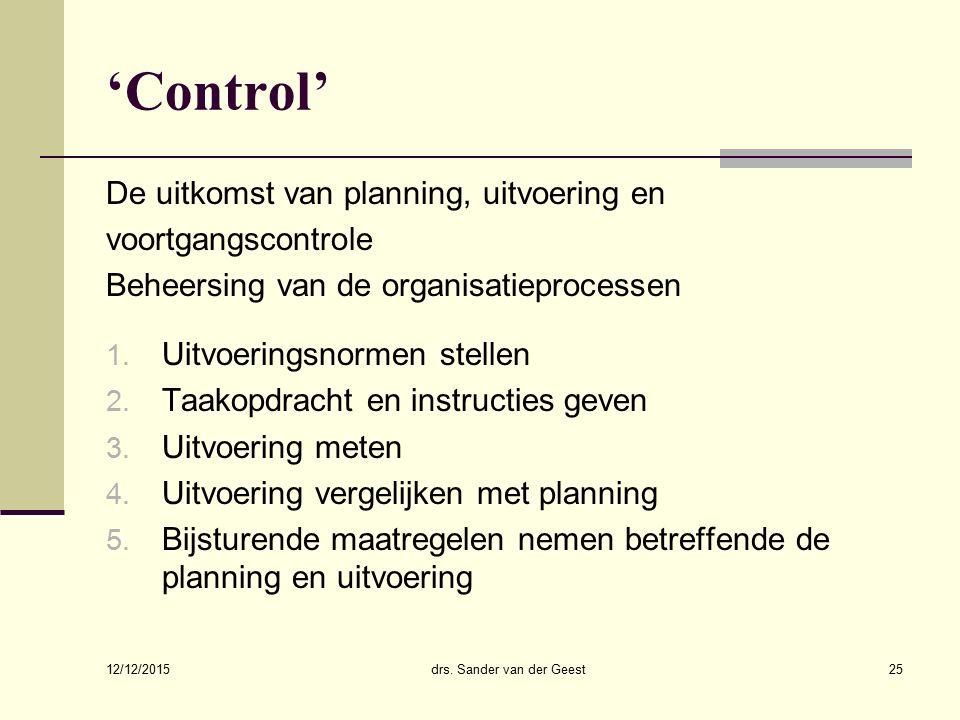 12/12/2015 drs. Sander van der Geest25 'Control' De uitkomst van planning, uitvoering en voortgangscontrole Beheersing van de organisatieprocessen 1.