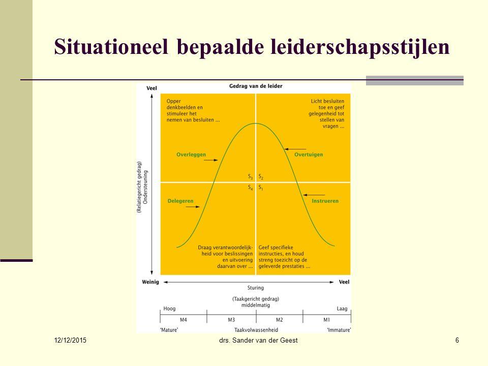 12/12/2015 drs. Sander van der Geest6 Situationeel bepaalde leiderschapsstijlen