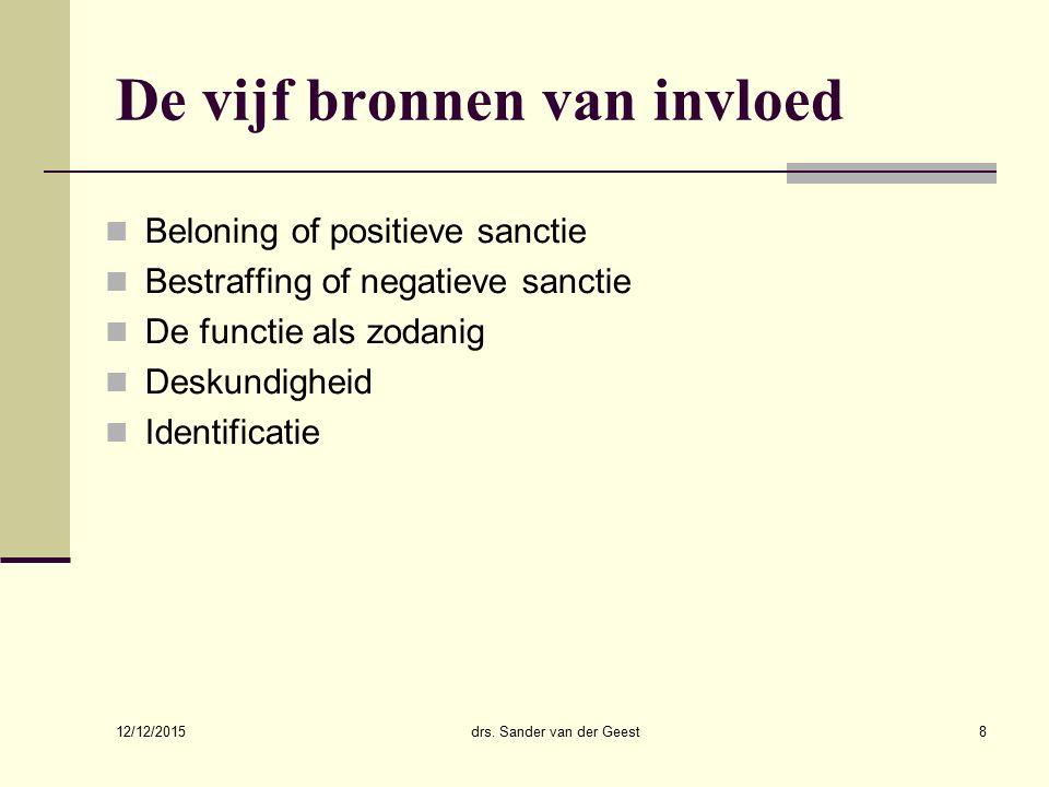 12/12/2015 drs. Sander van der Geest8 De vijf bronnen van invloed Beloning of positieve sanctie Bestraffing of negatieve sanctie De functie als zodani
