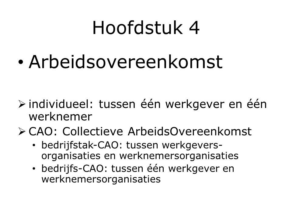Hoofdstuk 4 Arbeidsovereenkomst  individueel: tussen één werkgever en één werknemer  CAO: Collectieve ArbeidsOvereenkomst bedrijfstak-CAO: tussen werkgevers- organisaties en werknemersorganisaties bedrijfs-CAO: tussen één werkgever en werknemersorganisaties