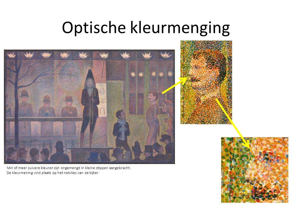 Optische kleurmenging Min of meer zuivere kleuren zijn ongemengd in kleine stippen aangebracht. De kleurmening vind plaats op het netvlies van de kijk