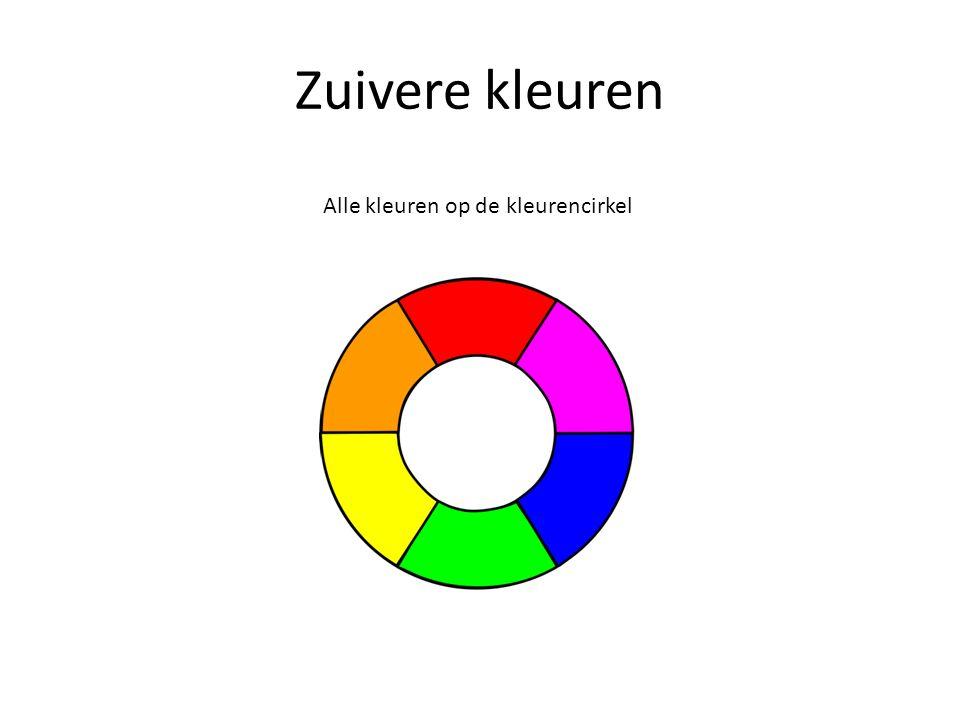 Zuivere kleuren Alle kleuren op de kleurencirkel