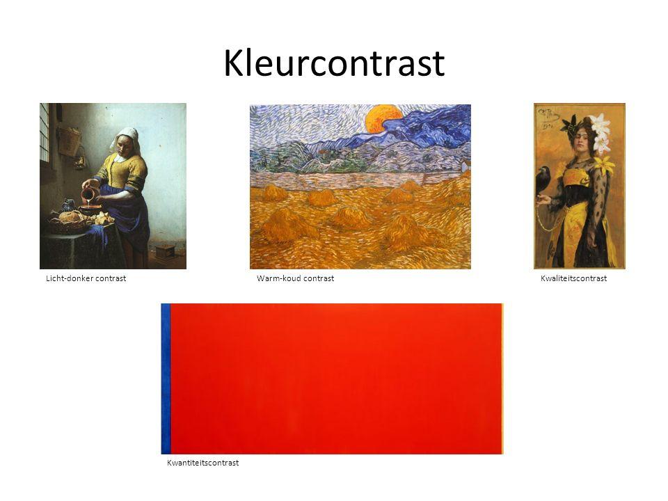 Kleurcontrast Licht-donker contrast Warm-koud contrastKwaliteitscontrast Kwantiteitscontrast