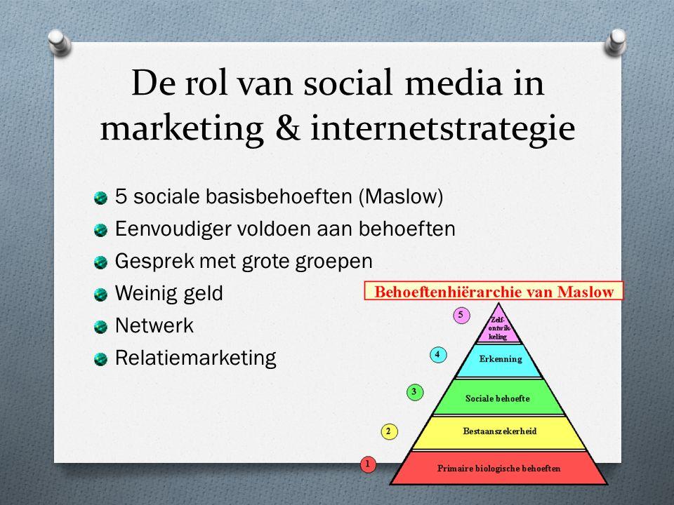 De rol van social media in marketing & internetstrategie 5 sociale basisbehoeften (Maslow) Eenvoudiger voldoen aan behoeften Gesprek met grote groepen Weinig geld Netwerk Relatiemarketing