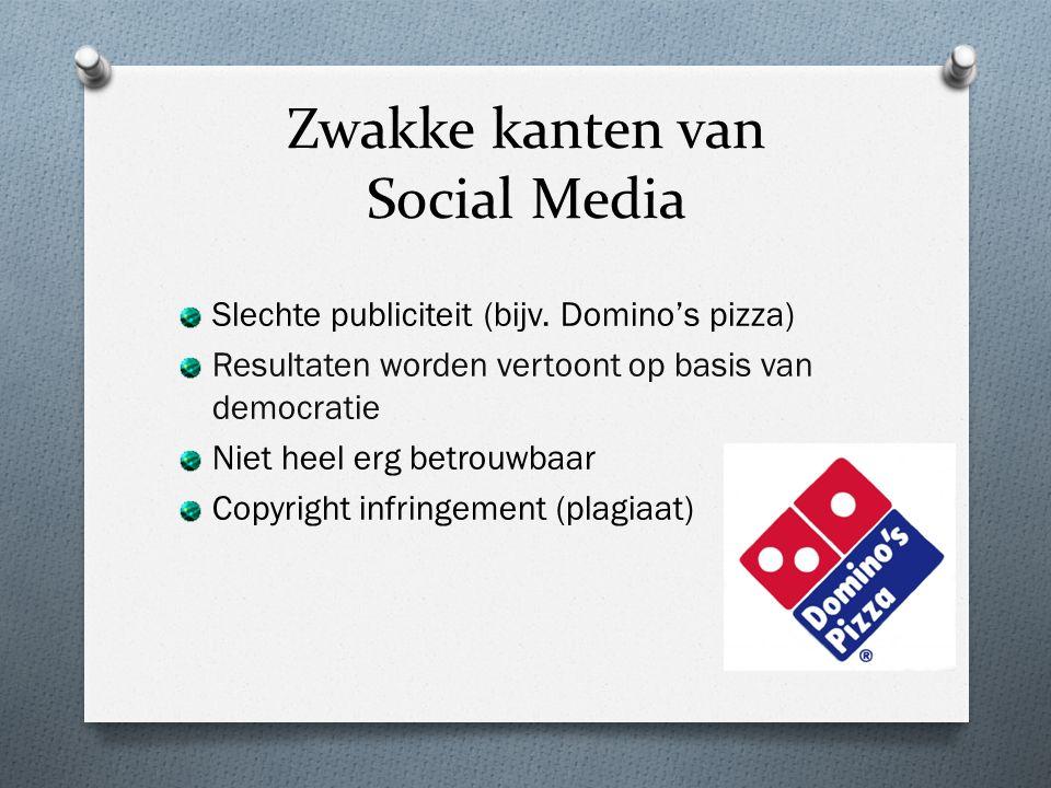 Zwakke kanten van Social Media Slechte publiciteit (bijv.