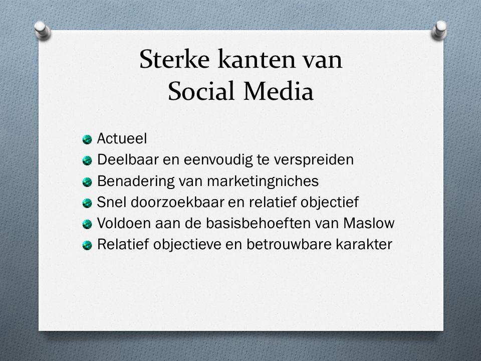 Sterke kanten van Social Media Actueel Deelbaar en eenvoudig te verspreiden Benadering van marketingniches Snel doorzoekbaar en relatief objectief Voldoen aan de basisbehoeften van Maslow Relatief objectieve en betrouwbare karakter
