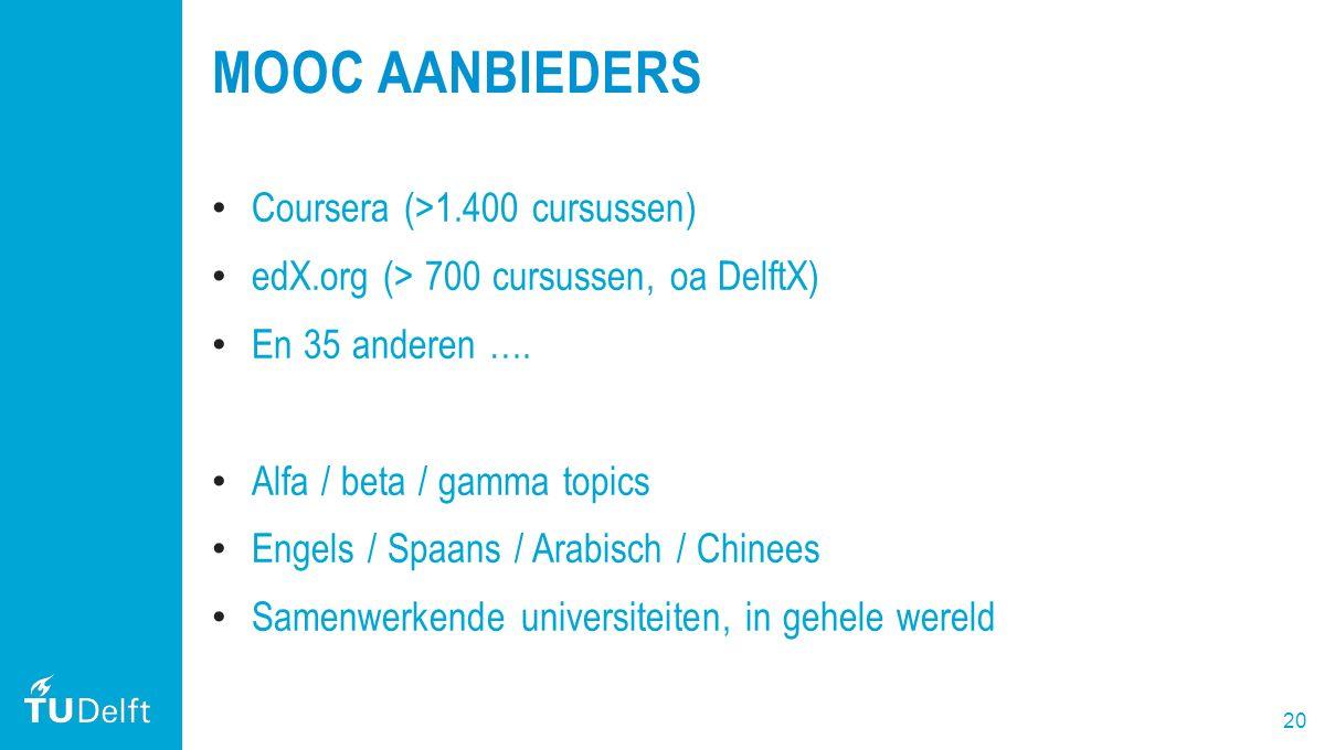 20 MOOC AANBIEDERS Coursera (>1.400 cursussen) edX.org (> 700 cursussen, oa DelftX) En 35 anderen …. Alfa / beta / gamma topics Engels / Spaans / Arab