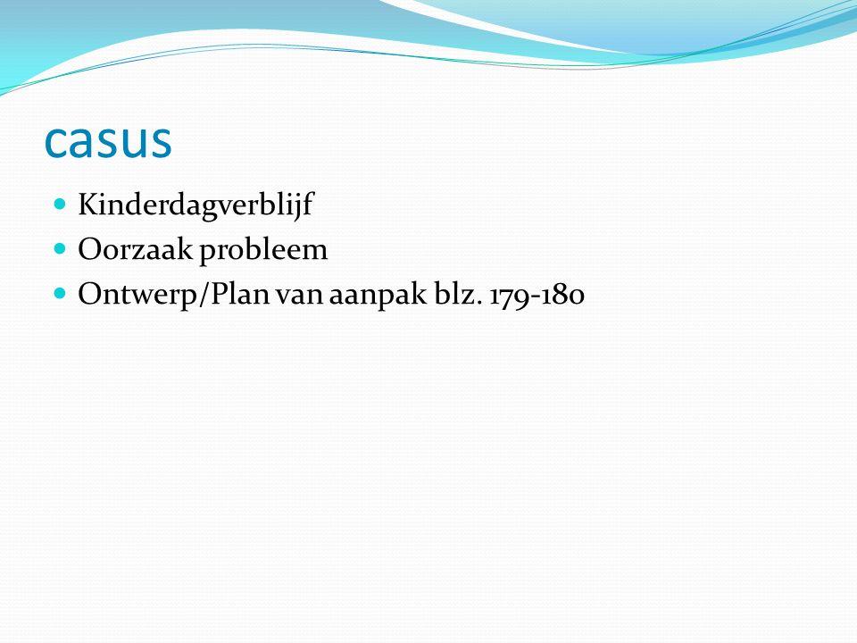 casus Kinderdagverblijf Oorzaak probleem Ontwerp/Plan van aanpak blz. 179-180