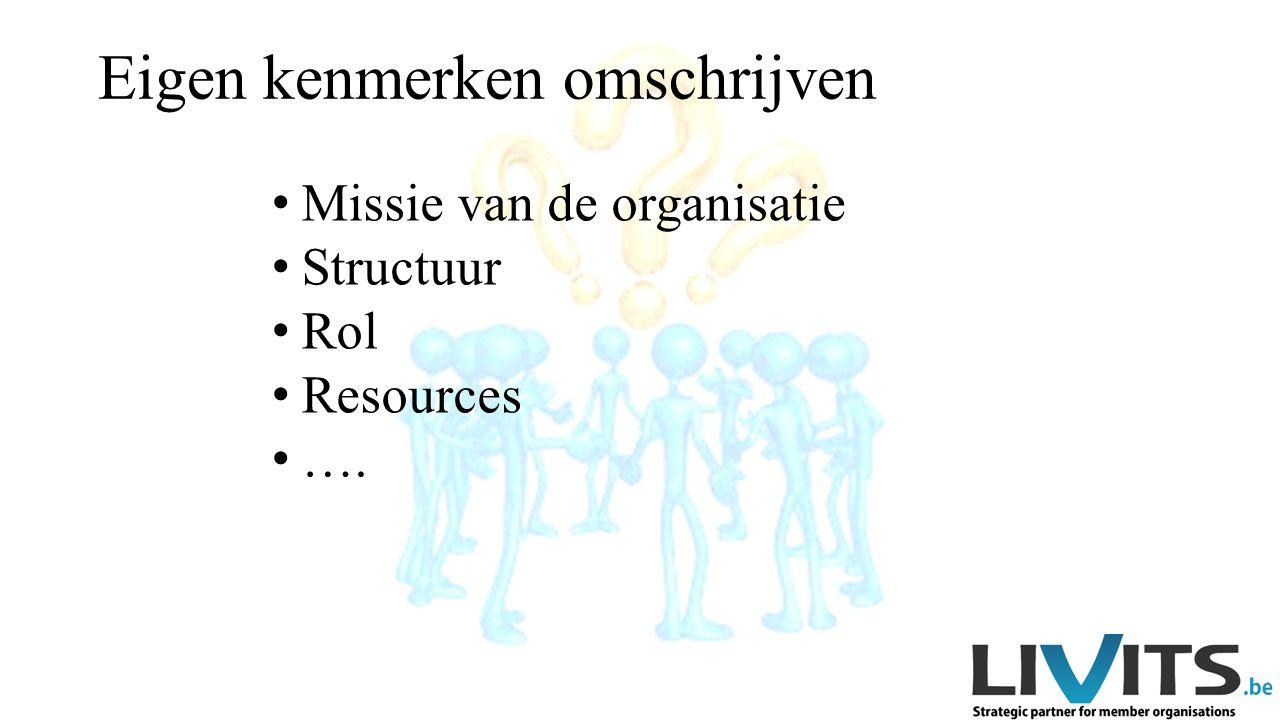 Missie van de organisatie Structuur Rol Resources ….