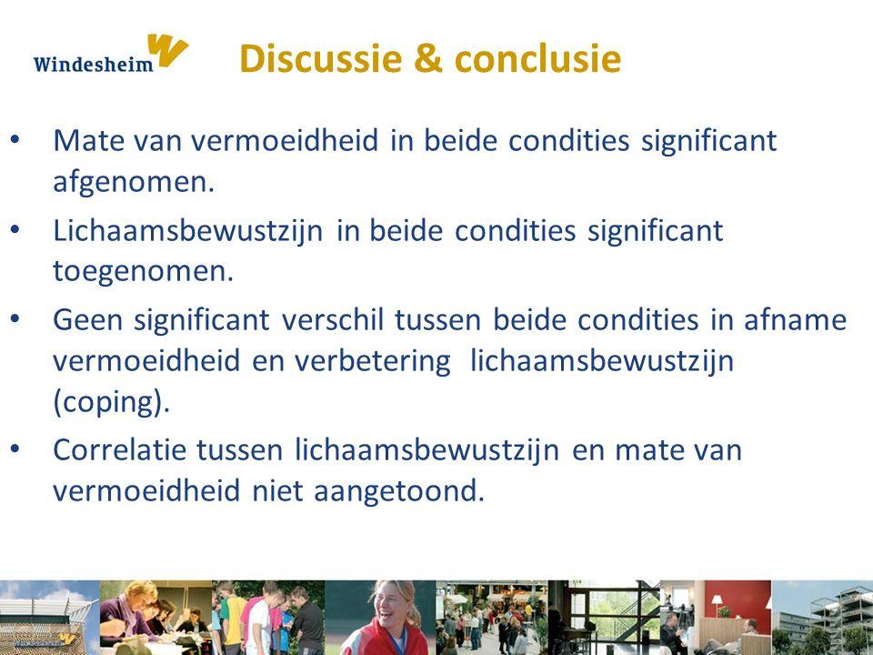 Discussie & conclusie Mate van vermoeidheid in beide condities significant afgenomen. Lichaamsbewustzijn in beide condities significant toegenomen. Ge