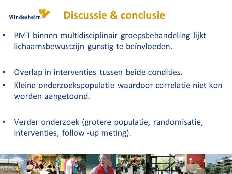PMT binnen multidisciplinair groepsbehandeling lijkt lichaamsbewustzijn gunstig te beïnvloeden. Overlap in interventies tussen beide condities. Kleine