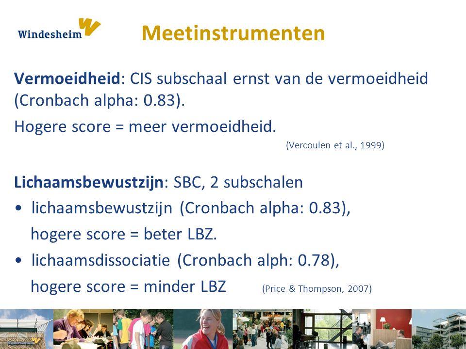Meetinstrumenten Vermoeidheid: CIS subschaal ernst van de vermoeidheid (Cronbach alpha: 0.83). Hogere score = meer vermoeidheid. (Vercoulen et al., 19
