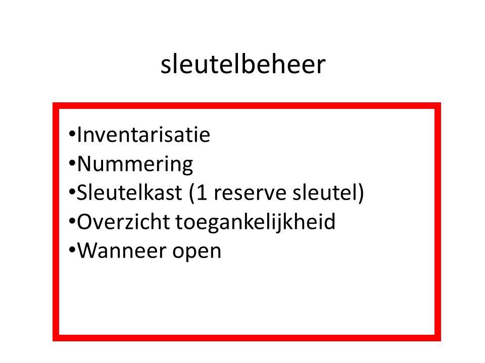 sleutelbeheer Inventarisatie Nummering Sleutelkast (1 reserve sleutel) Overzicht toegankelijkheid Wanneer open