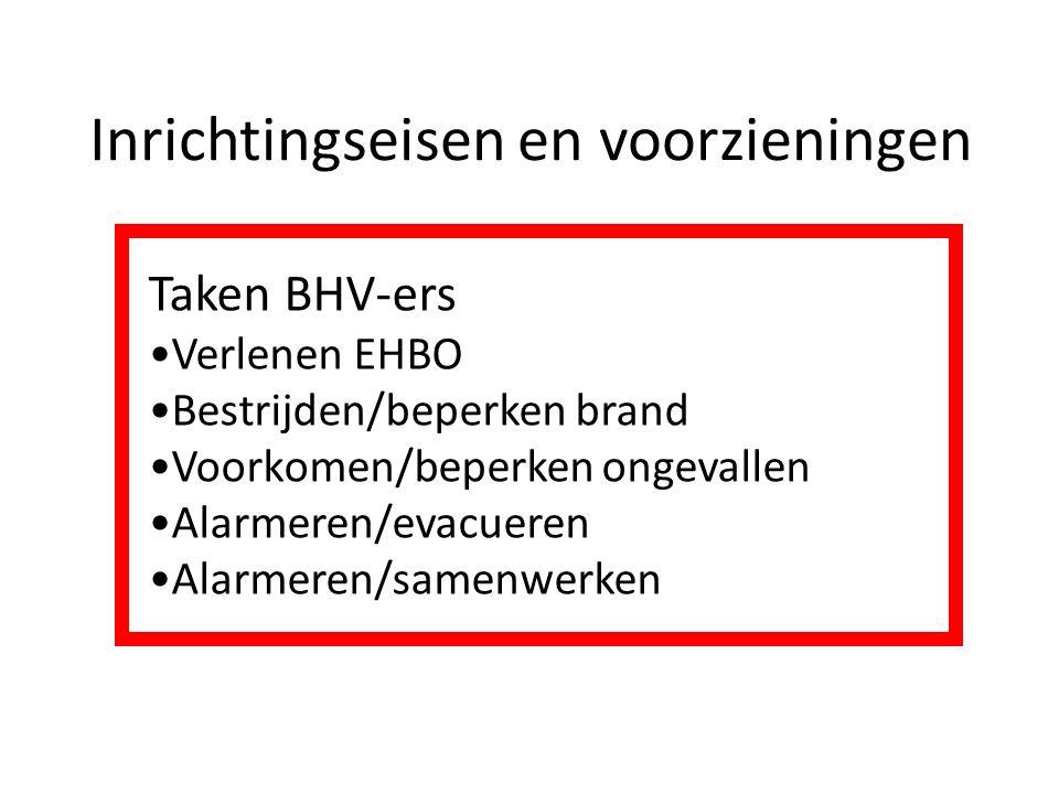 Inrichtingseisen en voorzieningen Taken BHV-ers Verlenen EHBO Bestrijden/beperken brand Voorkomen/beperken ongevallen Alarmeren/evacueren Alarmeren/samenwerken