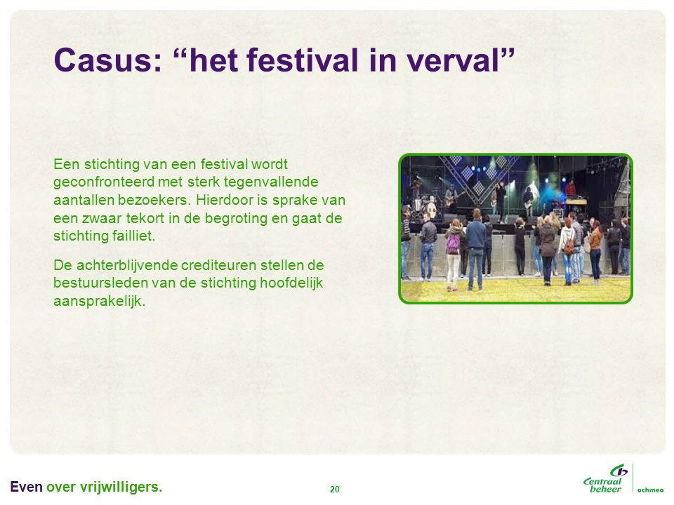 Even 20 Een stichting van een festival wordt geconfronteerd met sterk tegenvallende aantallen bezoekers.